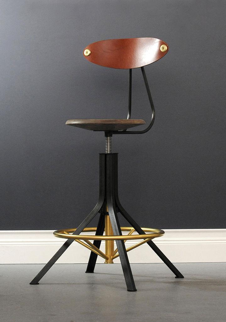 contemporary bar chair / adjustable / hardwood / leather - ARCHITECT & Contemporary bar chair / adjustable / hardwood / leather - ARCHITECT ...