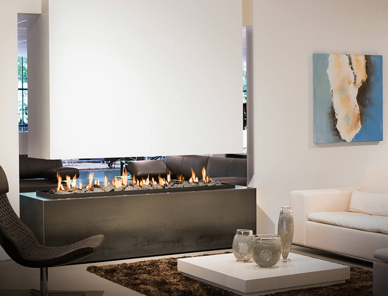 Gas fireplace / bioethanol / contemporary / open hearth - LINEFIRE ...