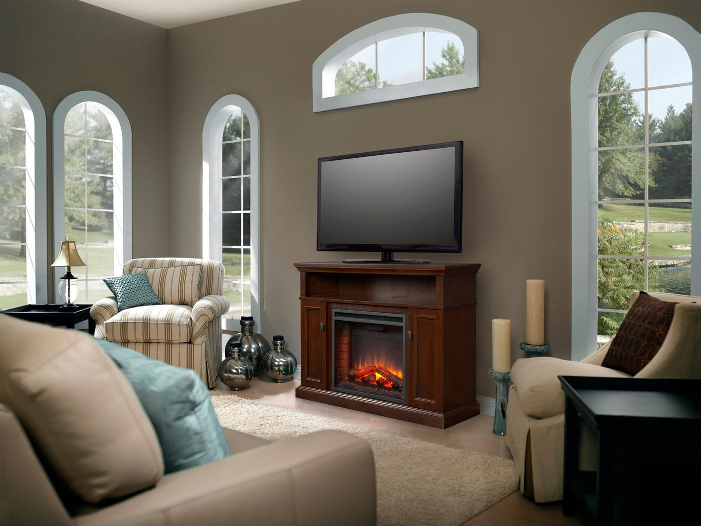 electric fireplace traditional closed hearth corner
