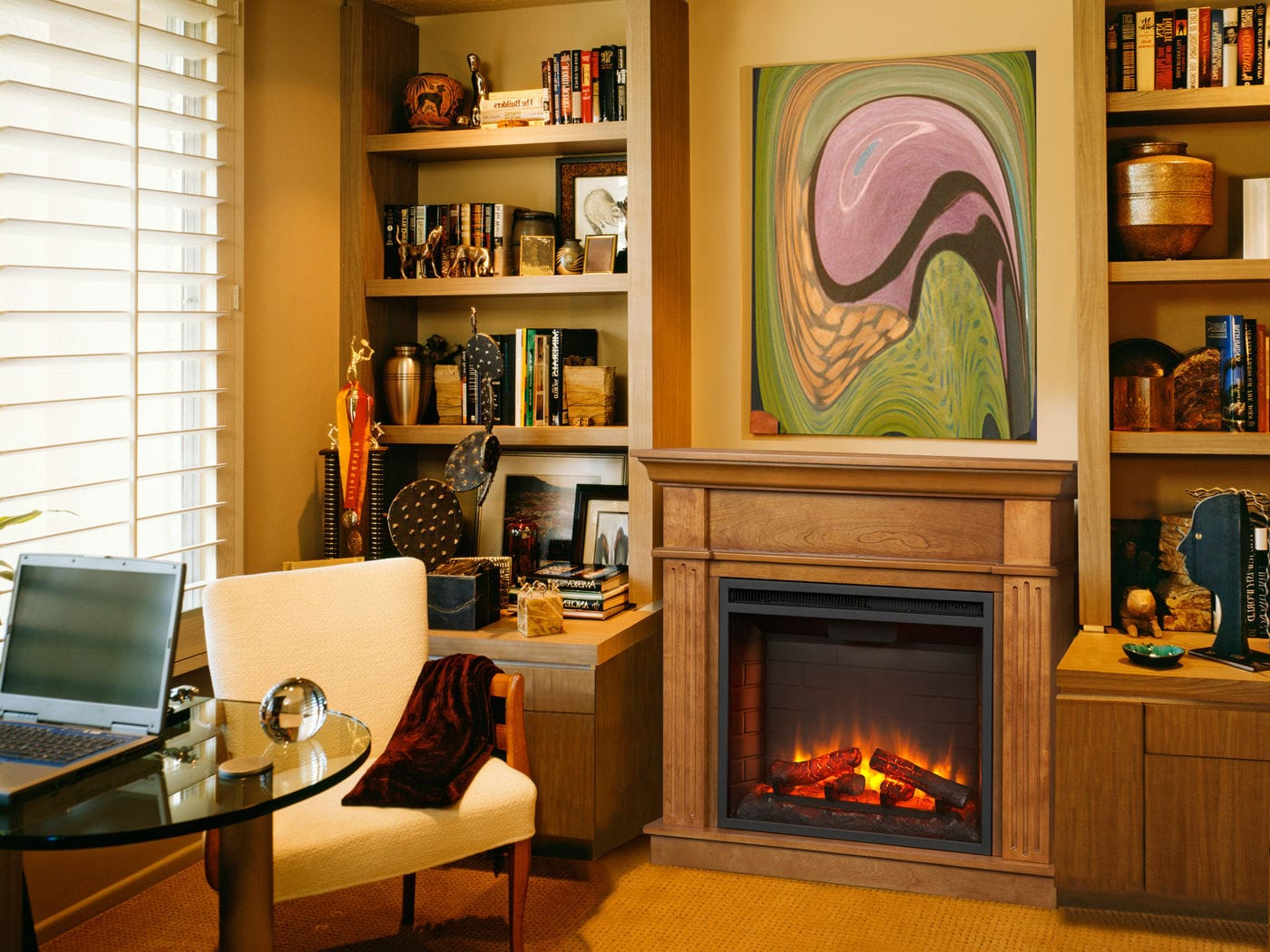 Electric fireplace / traditional / closed hearth / corner - SIMPLIFIRE  CRESTWOOD - Electric Fireplace / Traditional / Closed Hearth / Corner