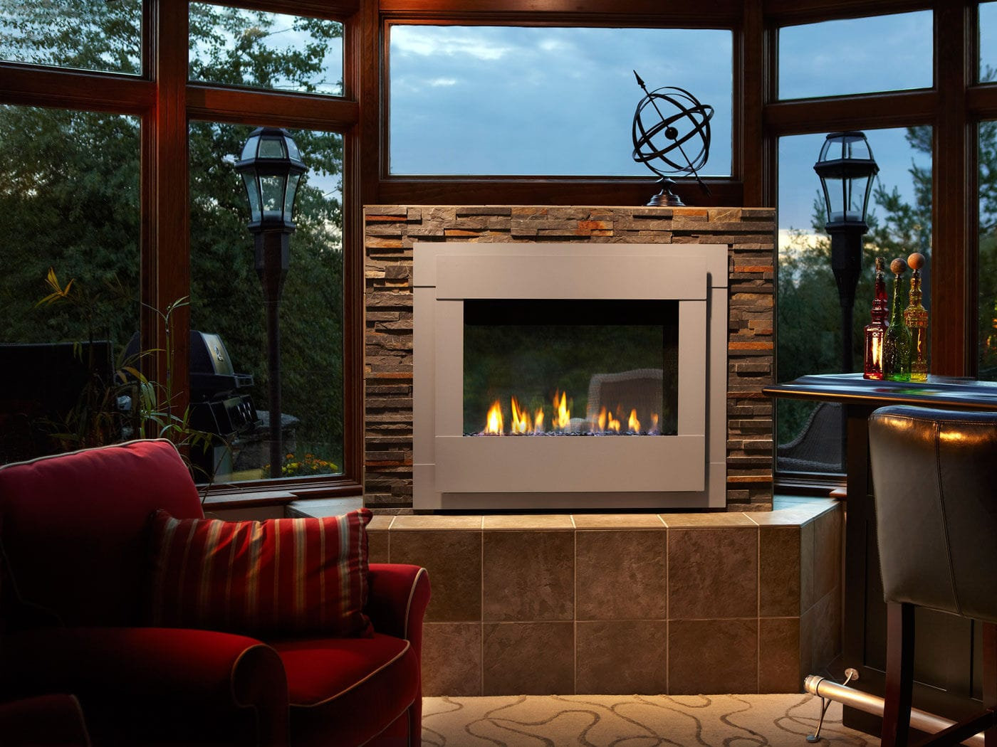 Gas Fireplace / Contemporary / Closed Hearth / Double Sided TWILIGHT Harman  Stoves ...
