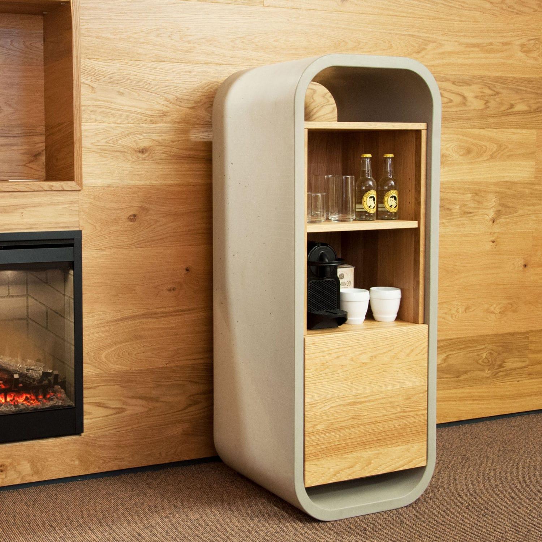 contemporary mini bar cabinet / concrete / oak / for hotel rooms - OPUS POTARE & Contemporary mini bar cabinet / concrete / oak / for hotel rooms ...