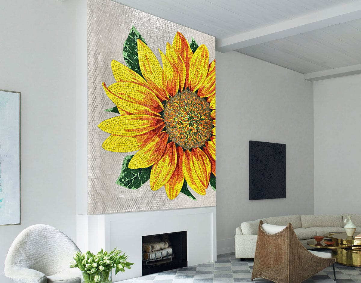 Indoor mosaic tile / outdoor / wall / glass - ARTISTIC : SUNFLOWER ...