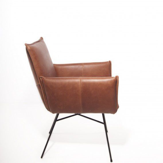 Contemporary Chair / With Armrests / Metal / Leather VASA Jess Design ...