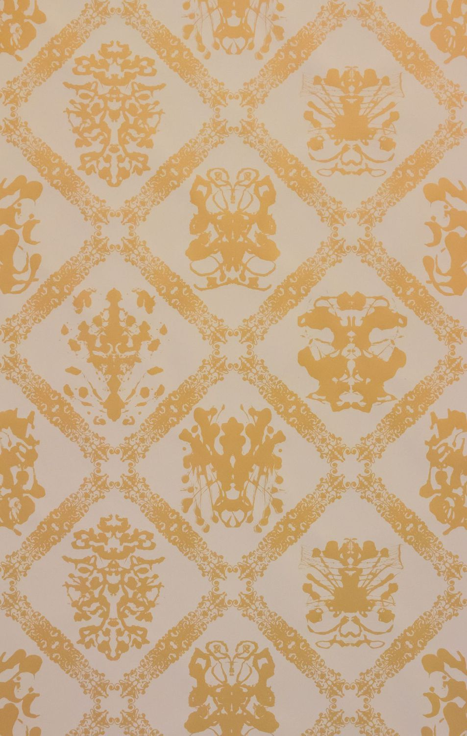 Traditional Wallpaper Polyester Damask Gold Colored