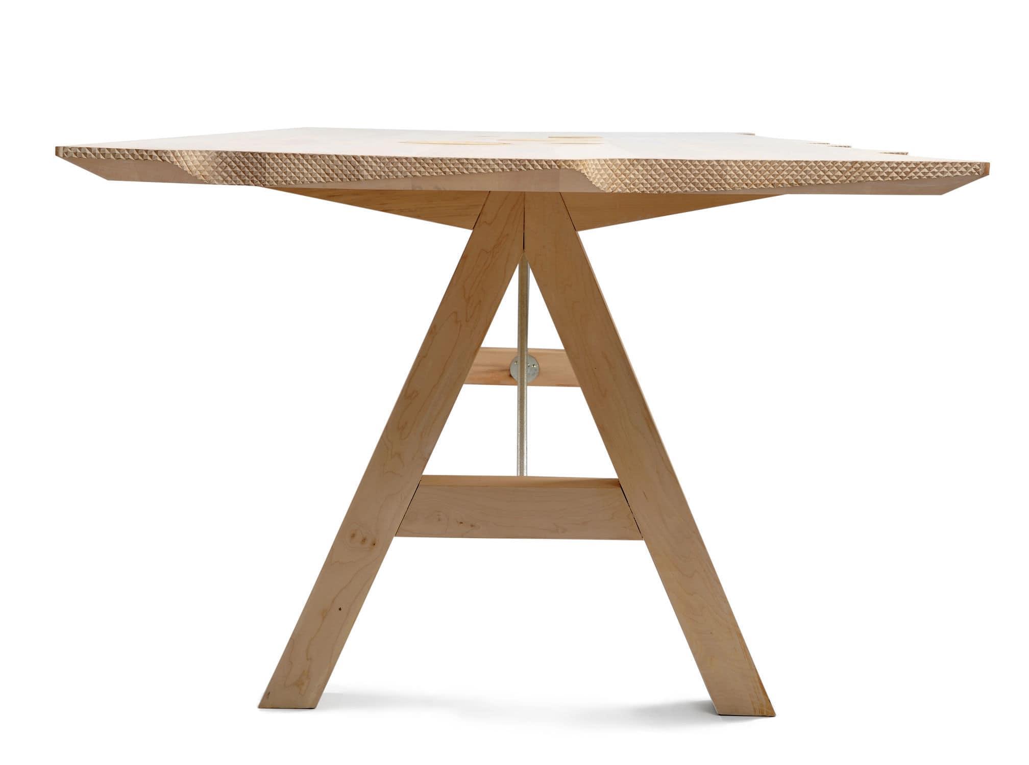 Scandinavian design table wooden metal rectangular WAVE by