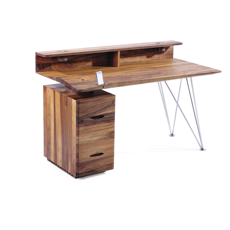 Wooden Desk Stainless Steel Scandinavian Design With Storage Iwave By Salih Tesdžić