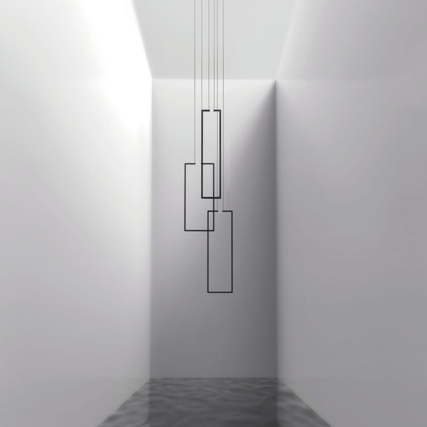 Minimalist design chandelier / lacquered metal / LED - FRAME - inarchi