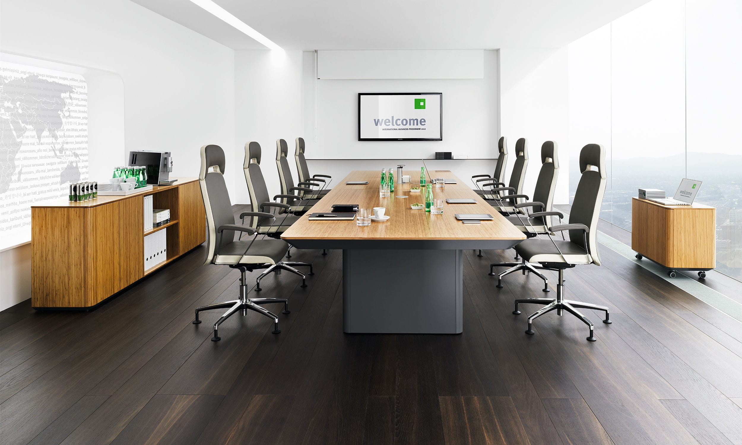 Contemporary Conference Table Wooden Metal Glass ERANGE By - Wood and metal conference table