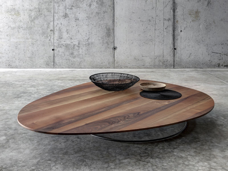 Contemporary Coffee Table Walnut Chestnut Oval