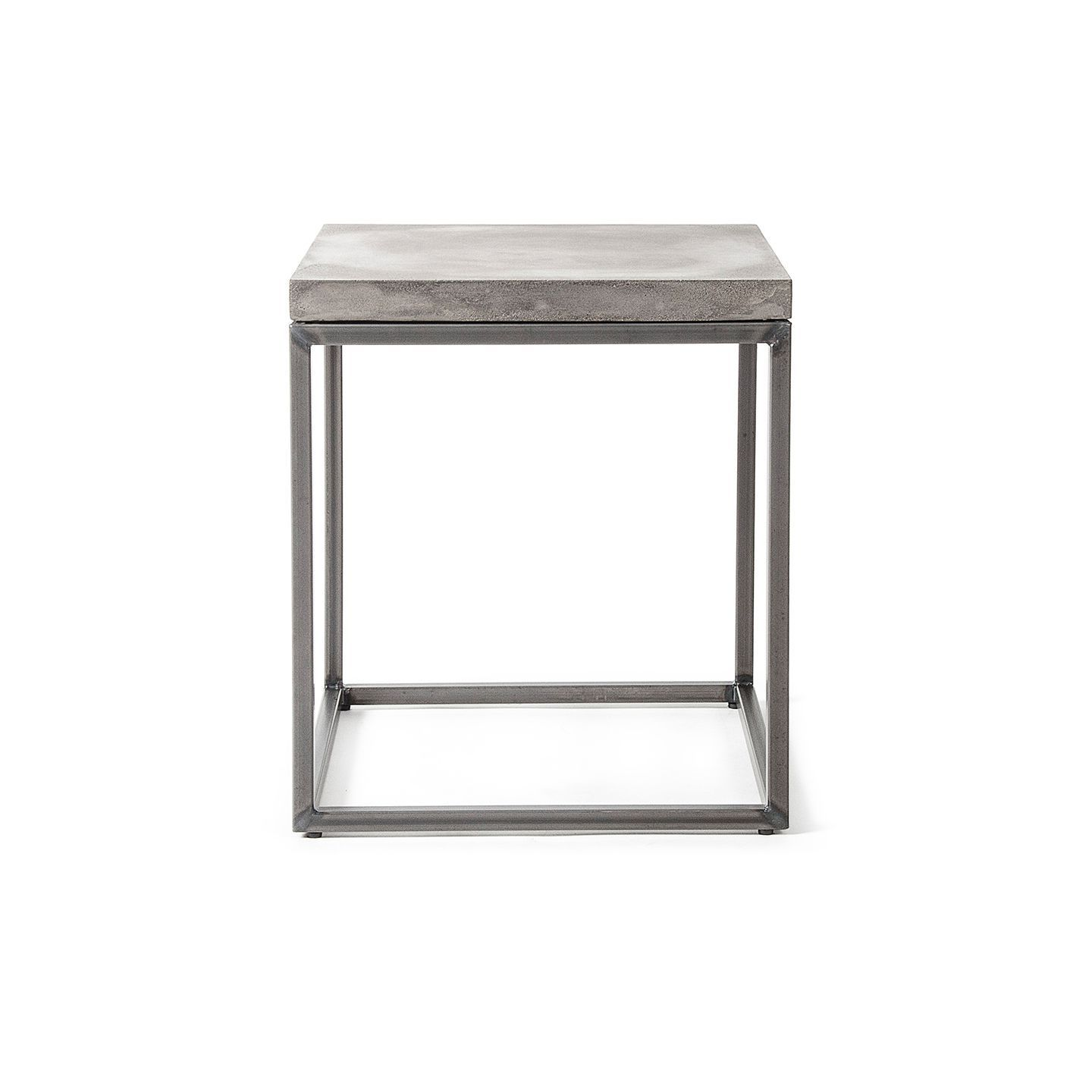 Contemporary side table / metal / concrete / square - PERSPECTIVE ...