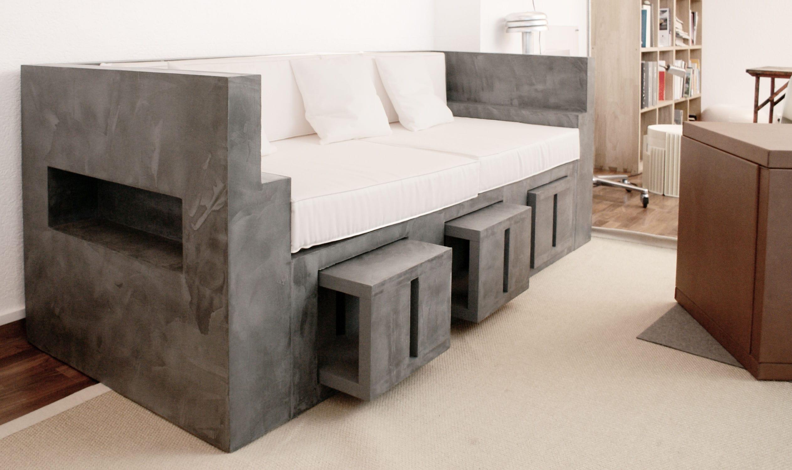 Contemporary Sofa / Garden / Concrete / Walnut ...