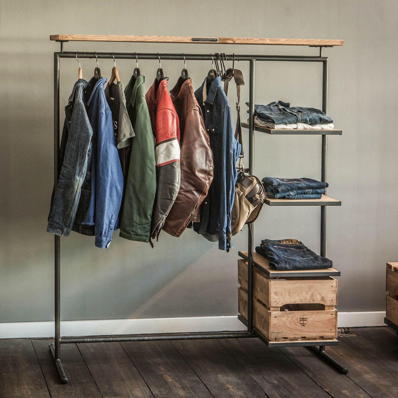 Clothing display rack wooden home for shops 3 NOODLES
