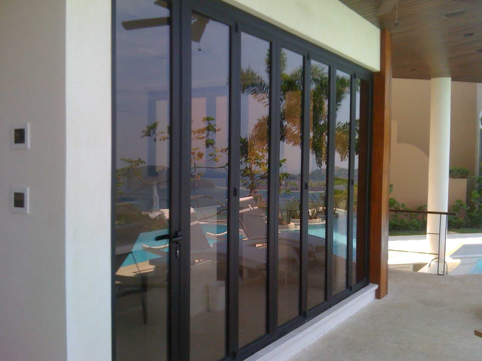 Sliding and stacking patio door folding aluminum double