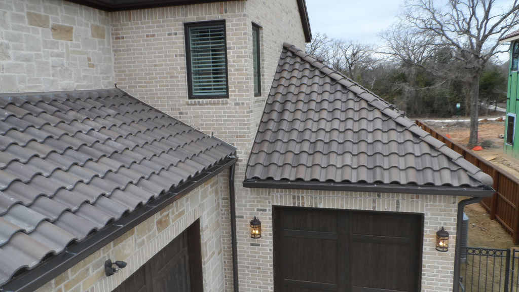 French Roof Tile Concrete Gray Large