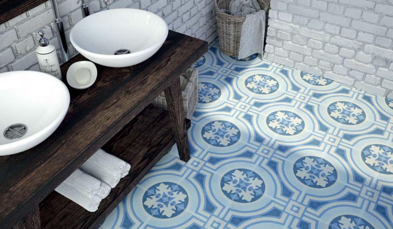 Bathroom tile / floor / porcelain stoneware / Victorian pattern - 6 ...