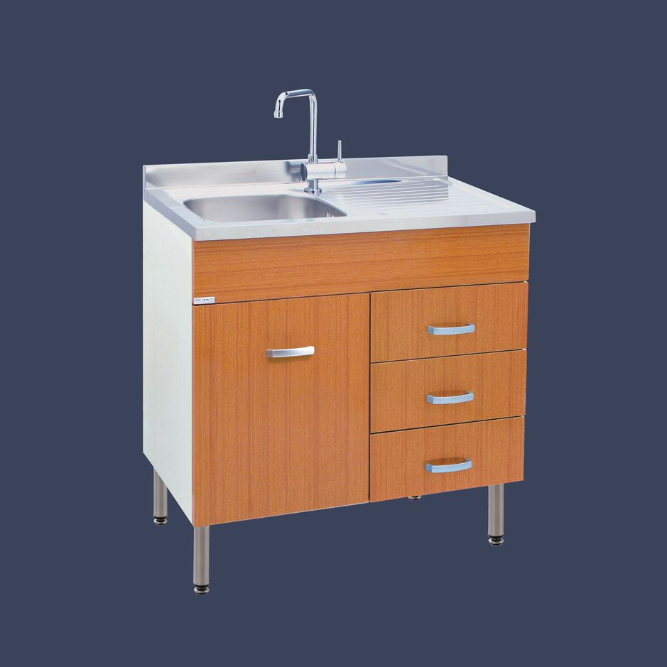 Stainless steel kitchen sink cabinet - SOFIA - LMC srl