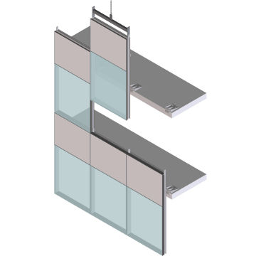 Unitized System Curtain Wall / Insulated Glass Panel / Aluminum And Glass /  High Resistance   EFP 65