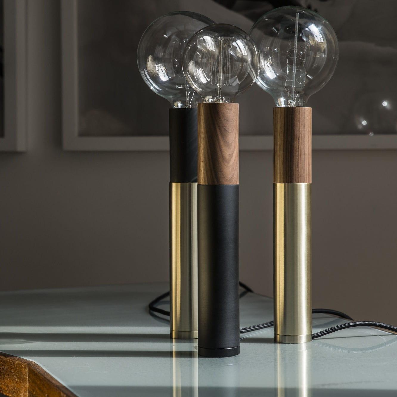 Table Lamp Contemporary Metal Wooden Ed030 Edizioni