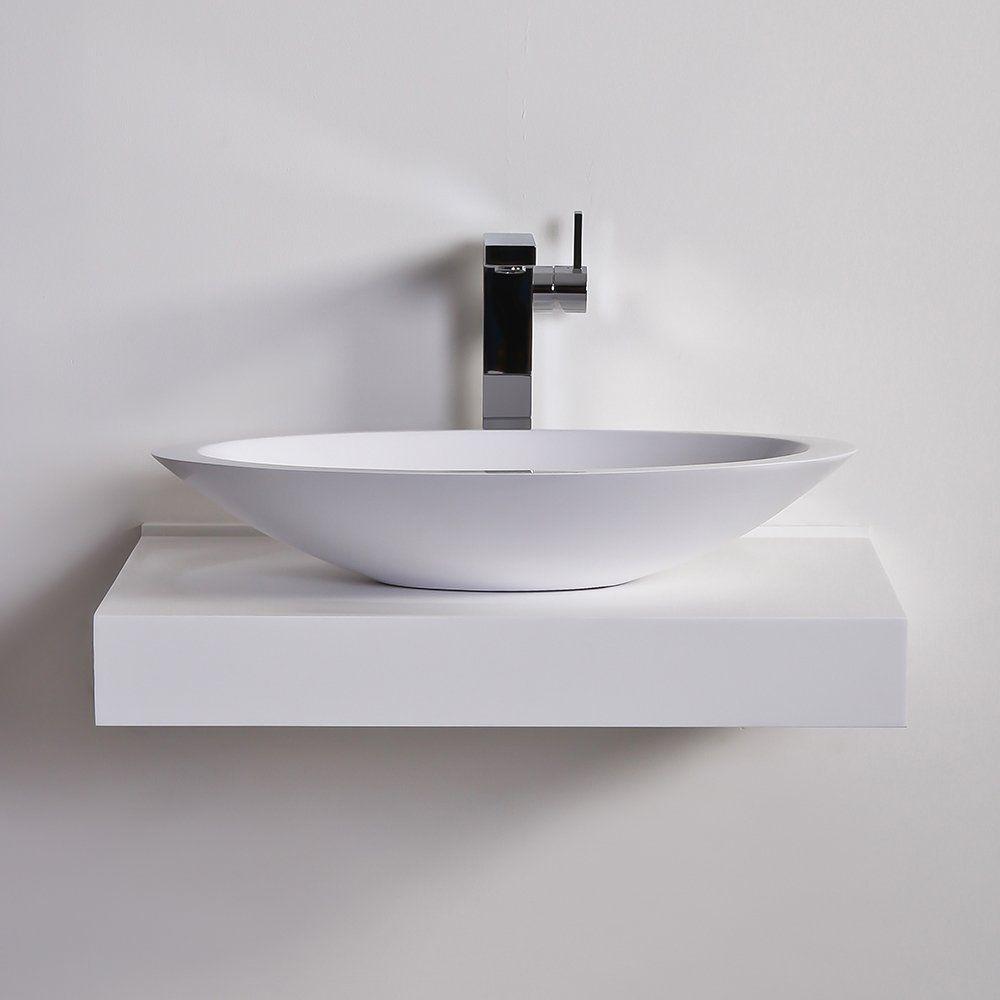Countertop washbasin / oval / stone resin / contemporary - SPOON ...