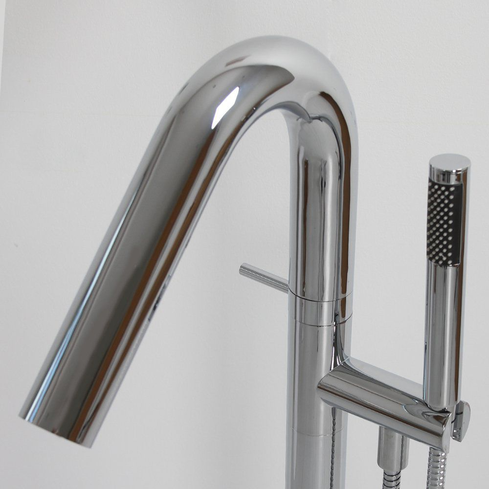 Bathtub mixer tap / shower / floor-mounted / chrome-plated brass ...