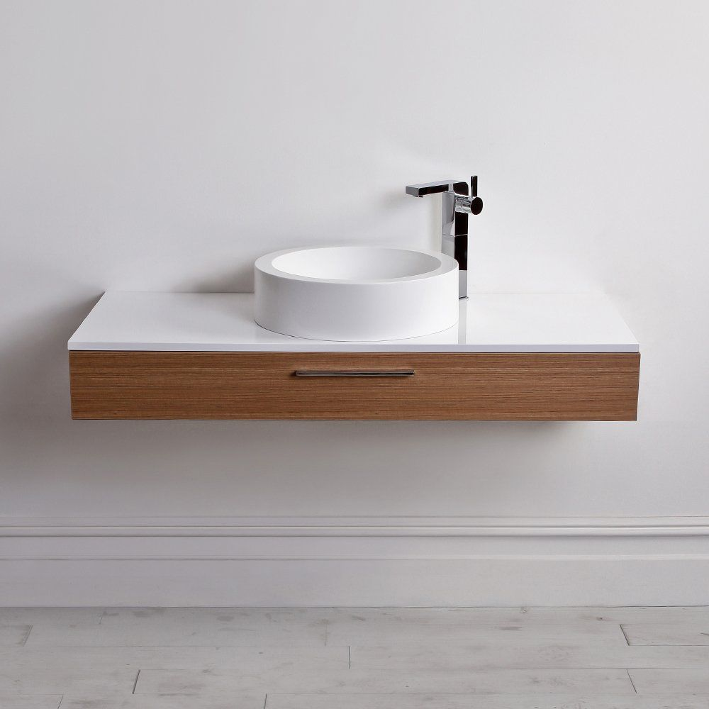 Wall-hung washbasin cabinet / stone resin / wooden / contemporary ...