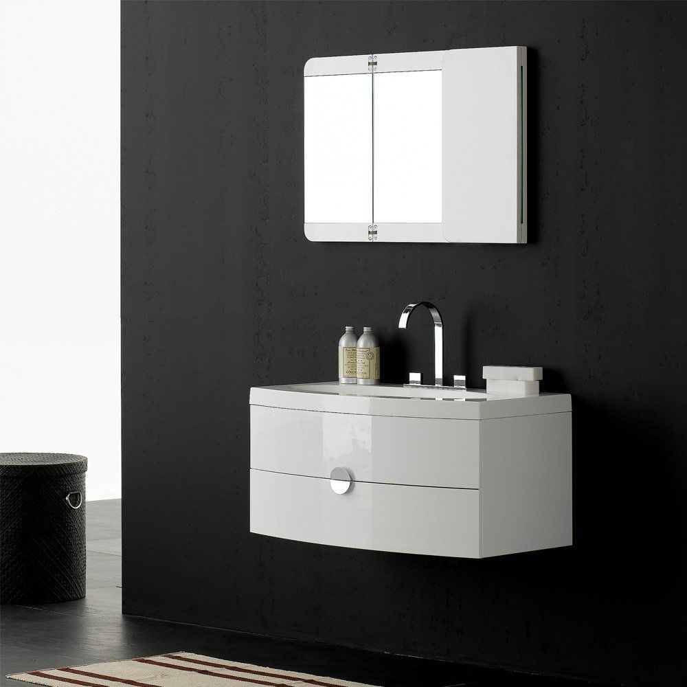 Wall-hung washbasin cabinet / stone resin / contemporary / with ...