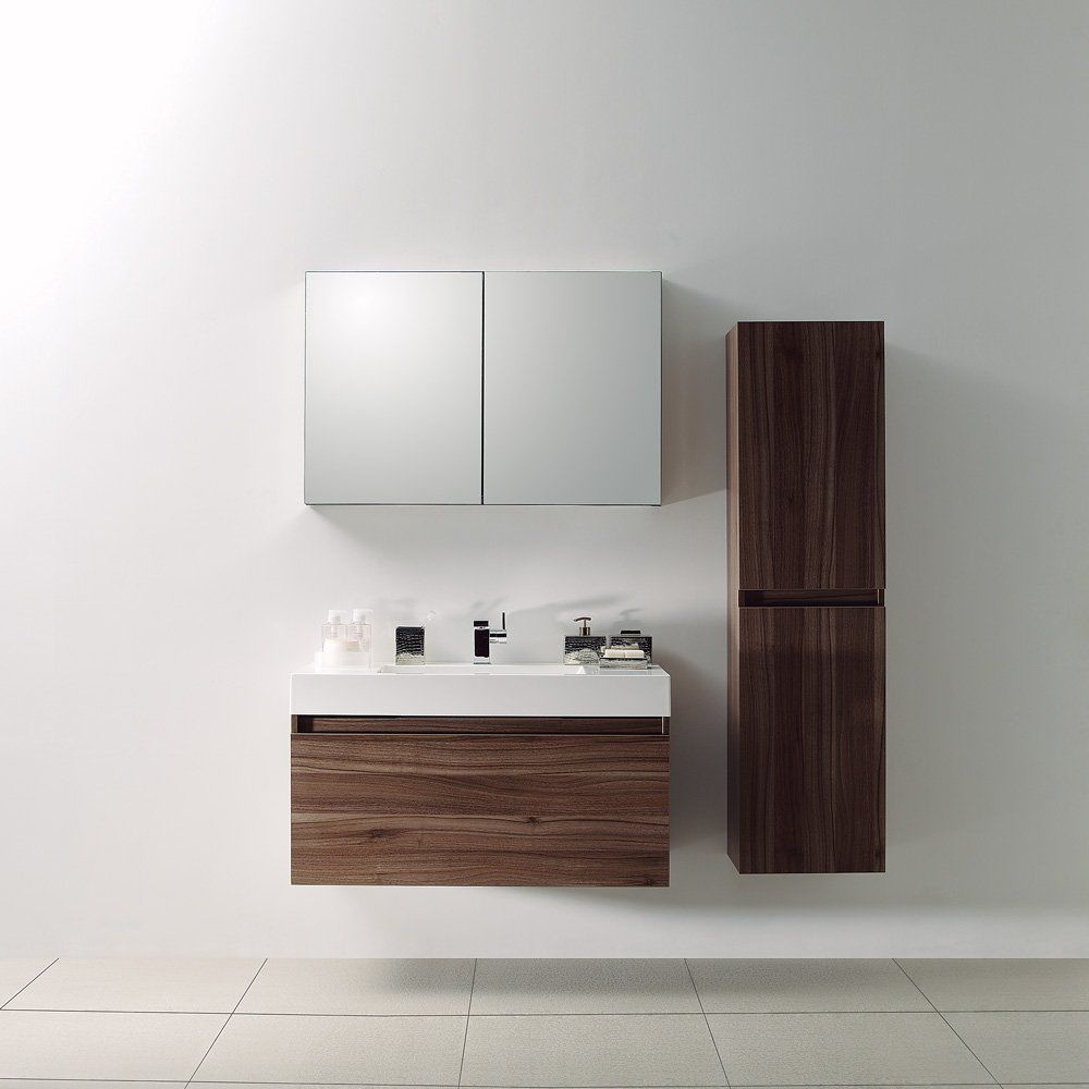 Wall Hung Washbasin Cabinet Stone Resin Walnut Contemporary Bagno
