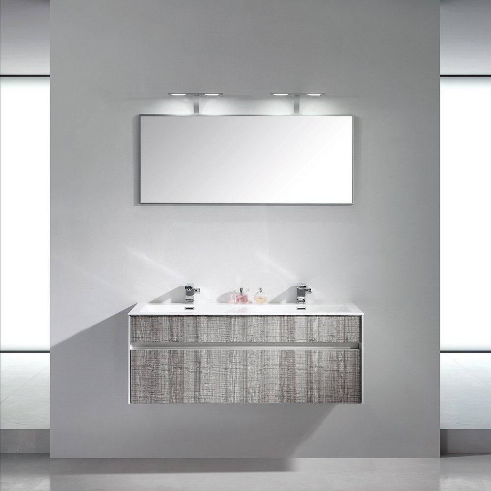 Double Washbasin Cabinet Wall Hung Ash Contemporary Encore