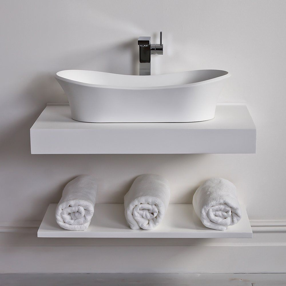 Wall-mounted shelf / contemporary / cast mineral / bathroom - 800 ...