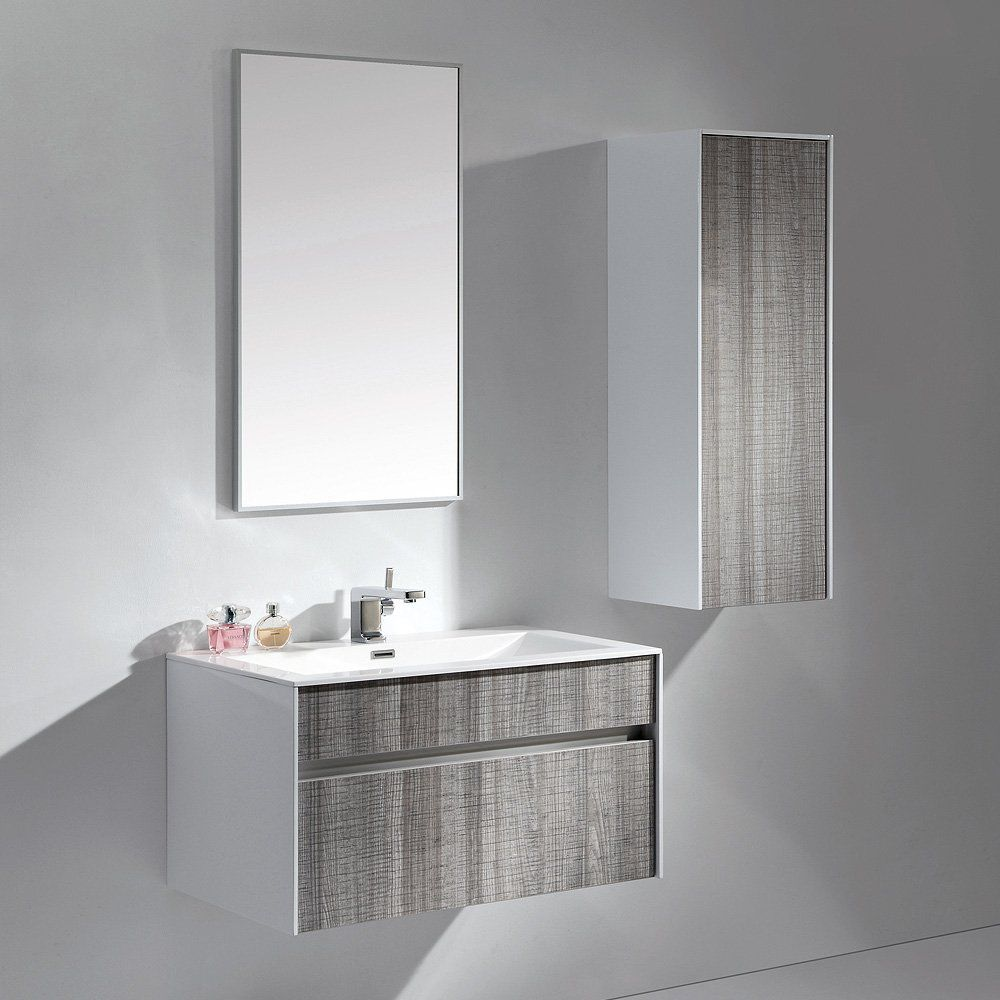 Wallhung Washbasin Cabinet Stone Resin Ash Contemporary - Wall mounted bathroom sinks and vanities