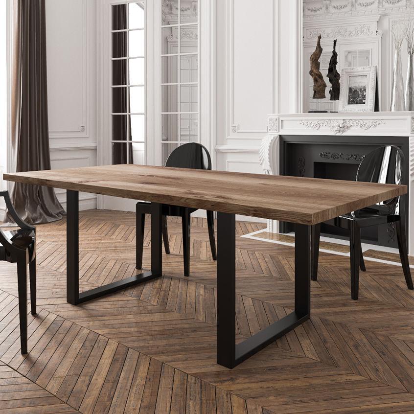 Bon Contemporary Table / Oak / Powder Coated Steel / Rectangular   MASSIVO By  Grzegorz Worpus Budziejewski