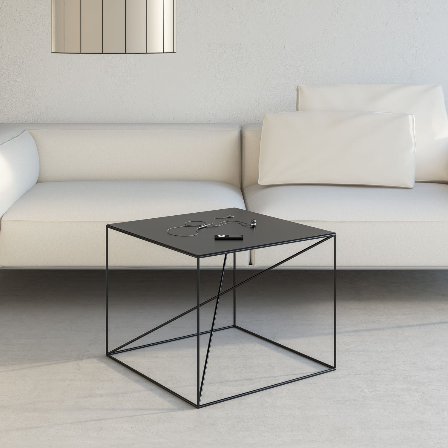 Contemporary coffee table powder coated steel rectangular