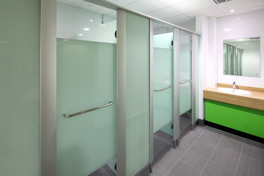 Glass shower cubicle / stainless steel / aluminum / for public ...