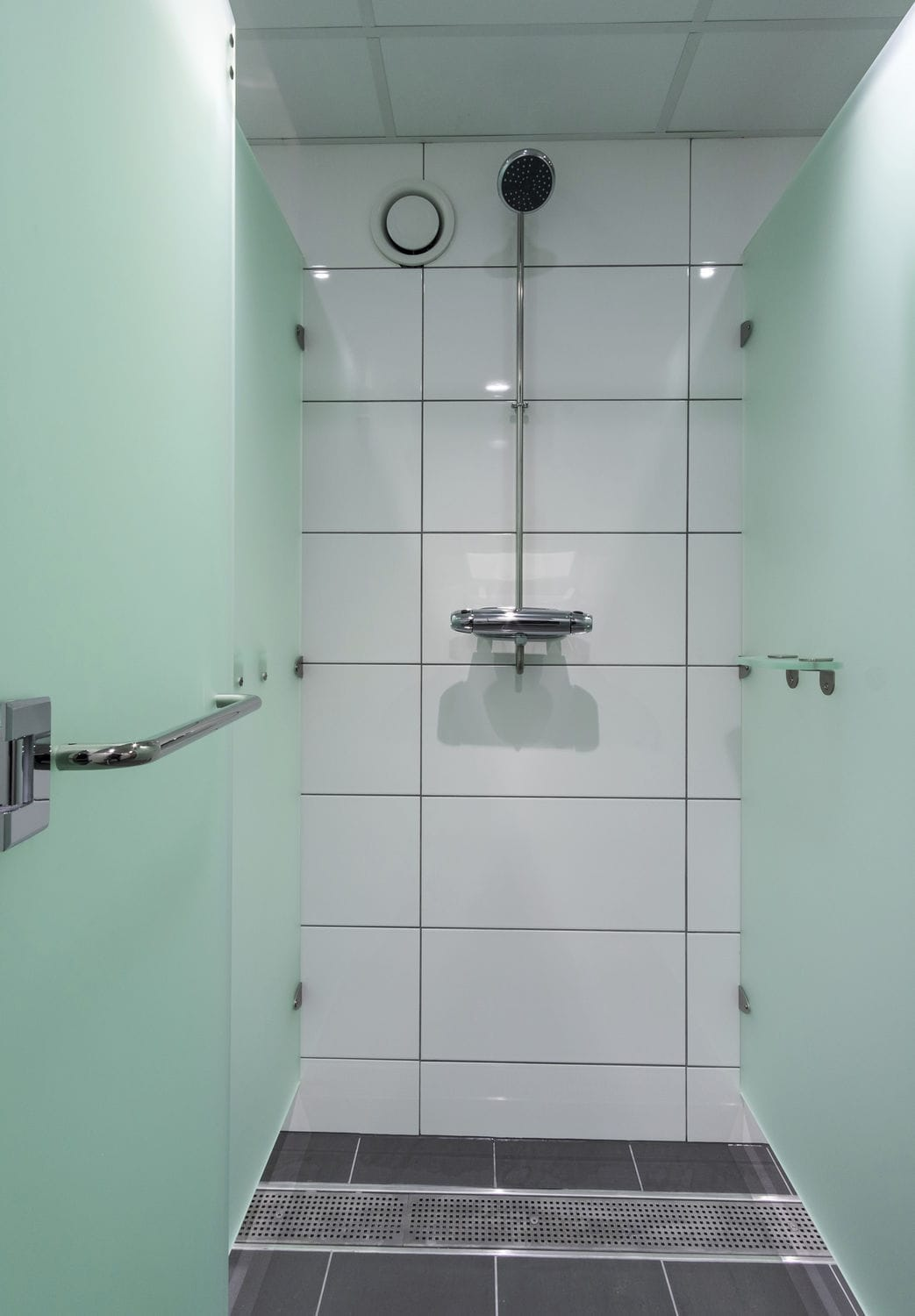 Acrylic shower cubicle / stainless steel / for public sanitary ...