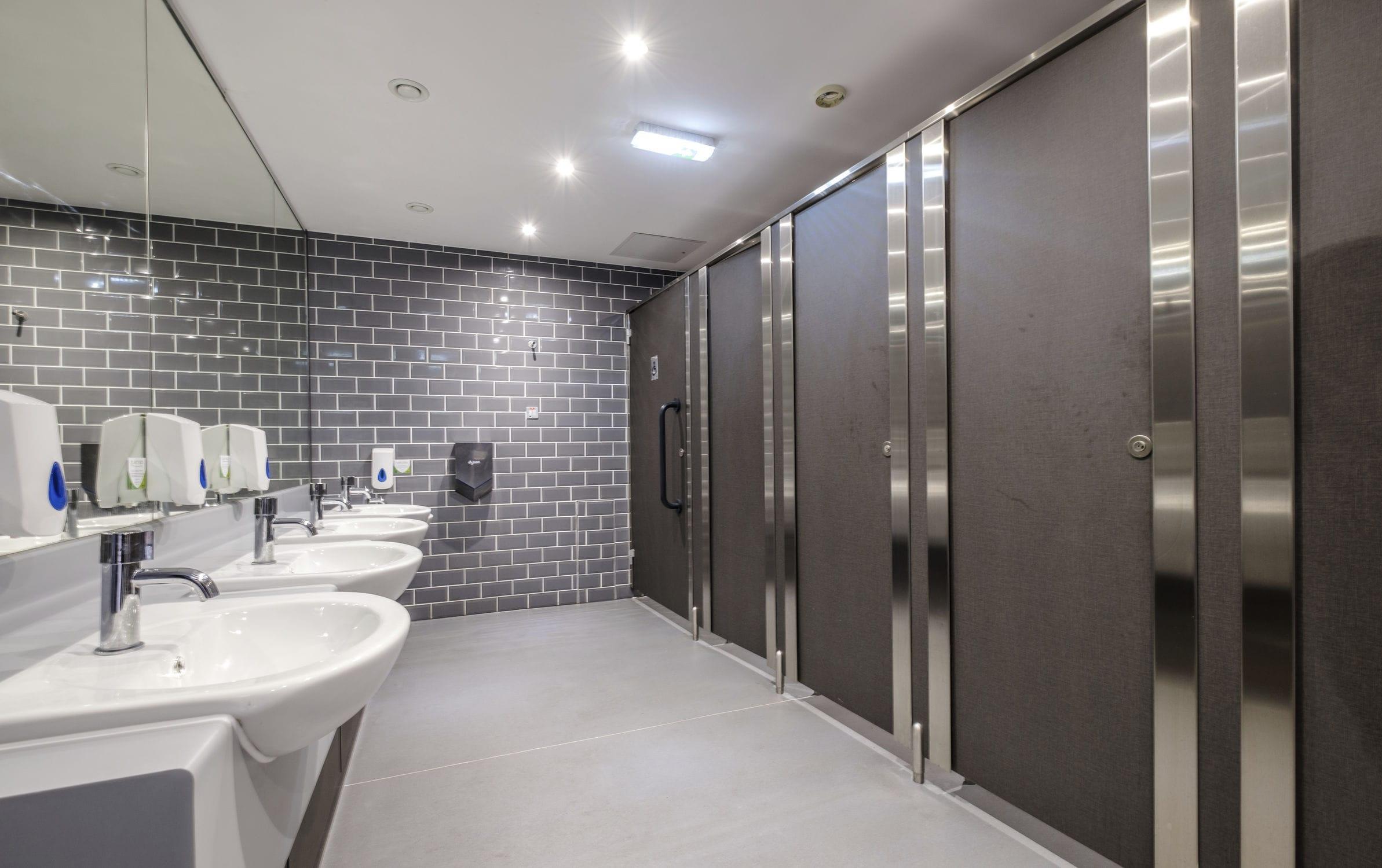 Public washroom toilet cubicle / stainless steel - SENZA - Washroom ...
