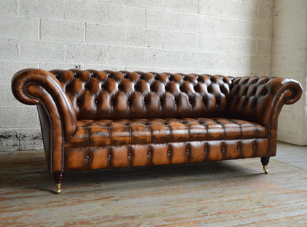 Chesterfield Sofa Leather 2 Person 3 Seater Antique Belmont