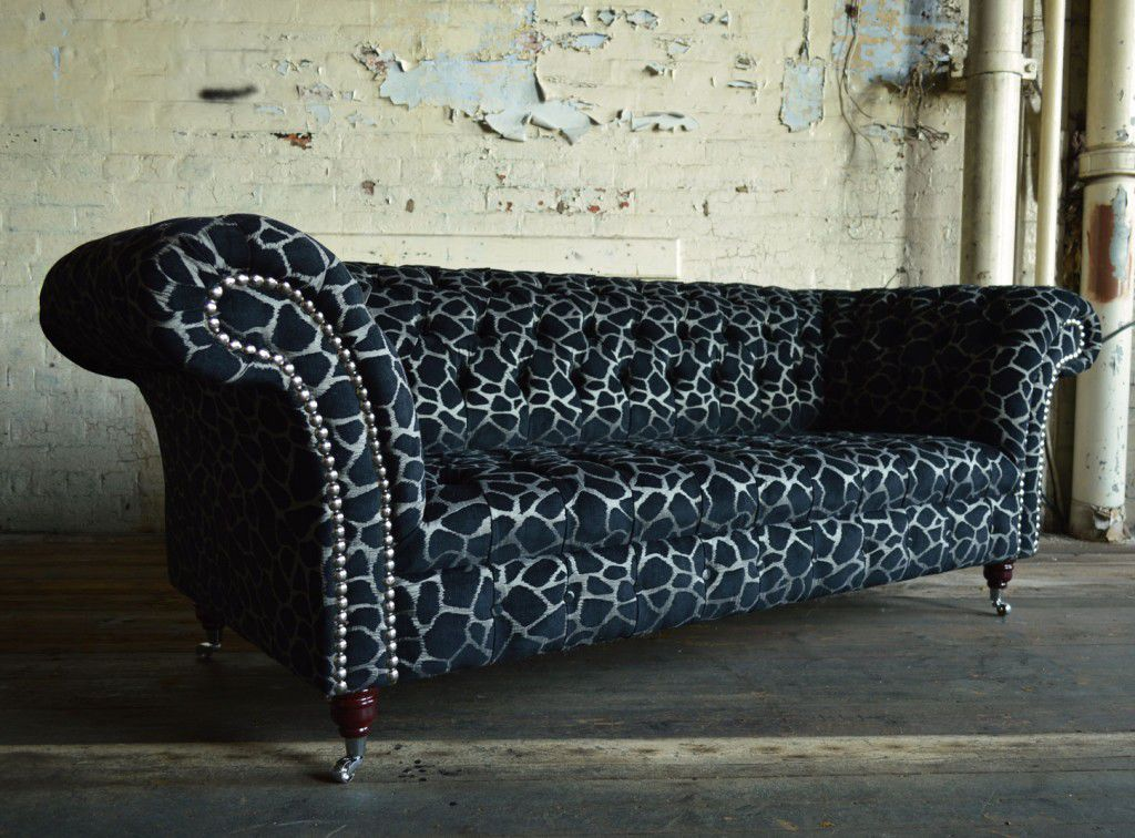 Chesterfield Sofa / Chromed Metal / Fabric / 2 Person   MARWELL