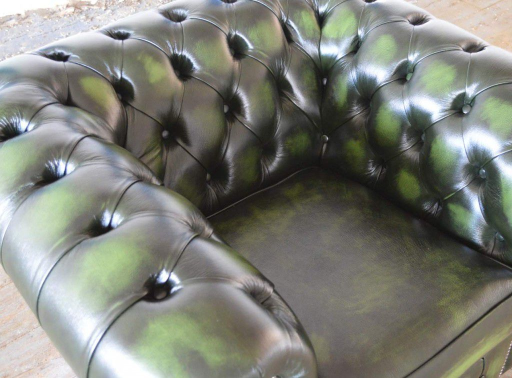 Chesterfield Armchair Wooden Leather Green Antique Clarendon