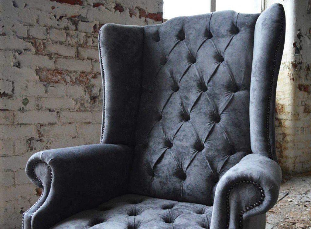 Chesterfield Armchair Velvet Leather Mahogany Boss Abode Sofas