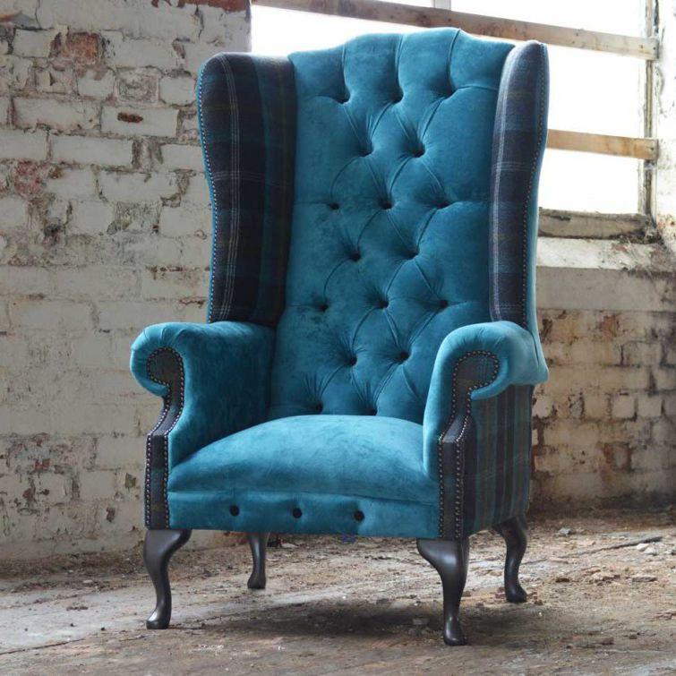 Chesterfield Armchair / Fabric / Wing / High Back   MORAY TARTAN