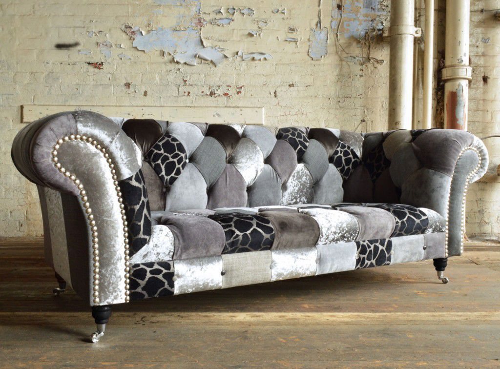 Chesterfield Sofa Fabric 3 Seater On Casters Grey Animal