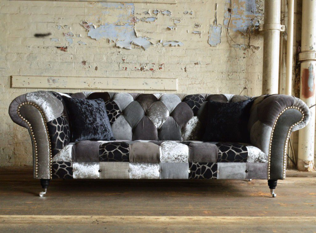 Chesterfield Sofa / Fabric / 3 Seater / On Casters ...