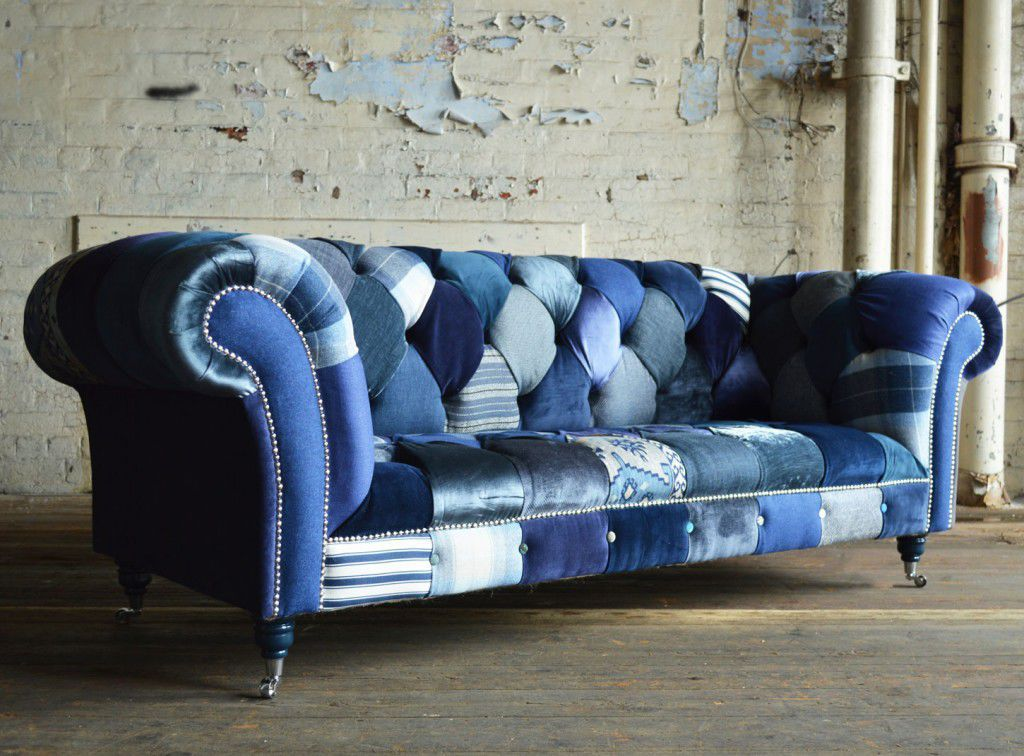 Chesterfield sofa / fabric / 3-seater / on casters - NAVY - Abode Sofas