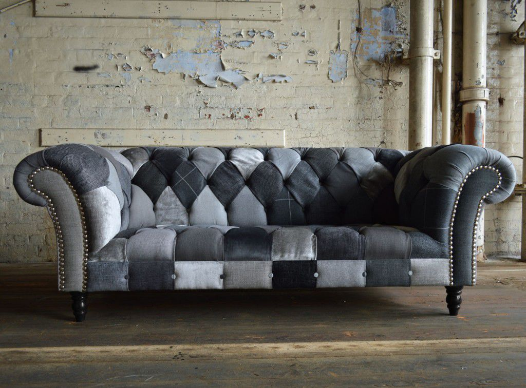 Chesterfield Sofa Fabric 3 Seater Multi Color Ghost