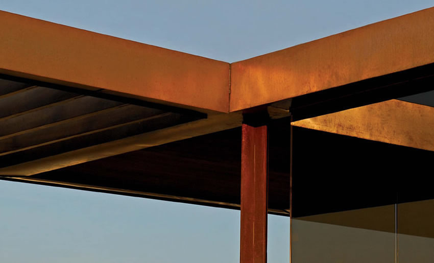 corten steel solar shading for roofs horizontal florence italy pitti immagine