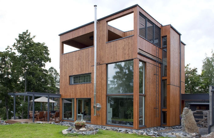 Prefab House Contemporary Wooden Frame Glass Villa Max By