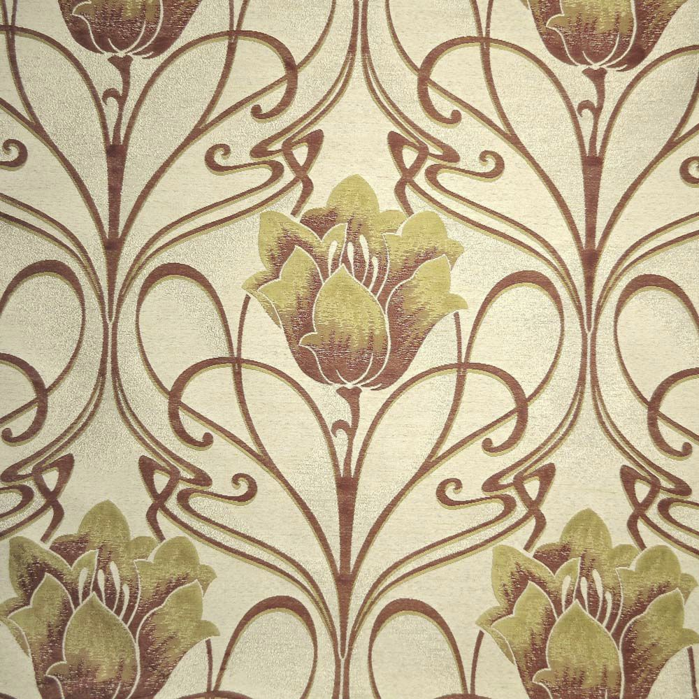 Upholstery Fabric For Curtains Floral Pattern Polyester Gold