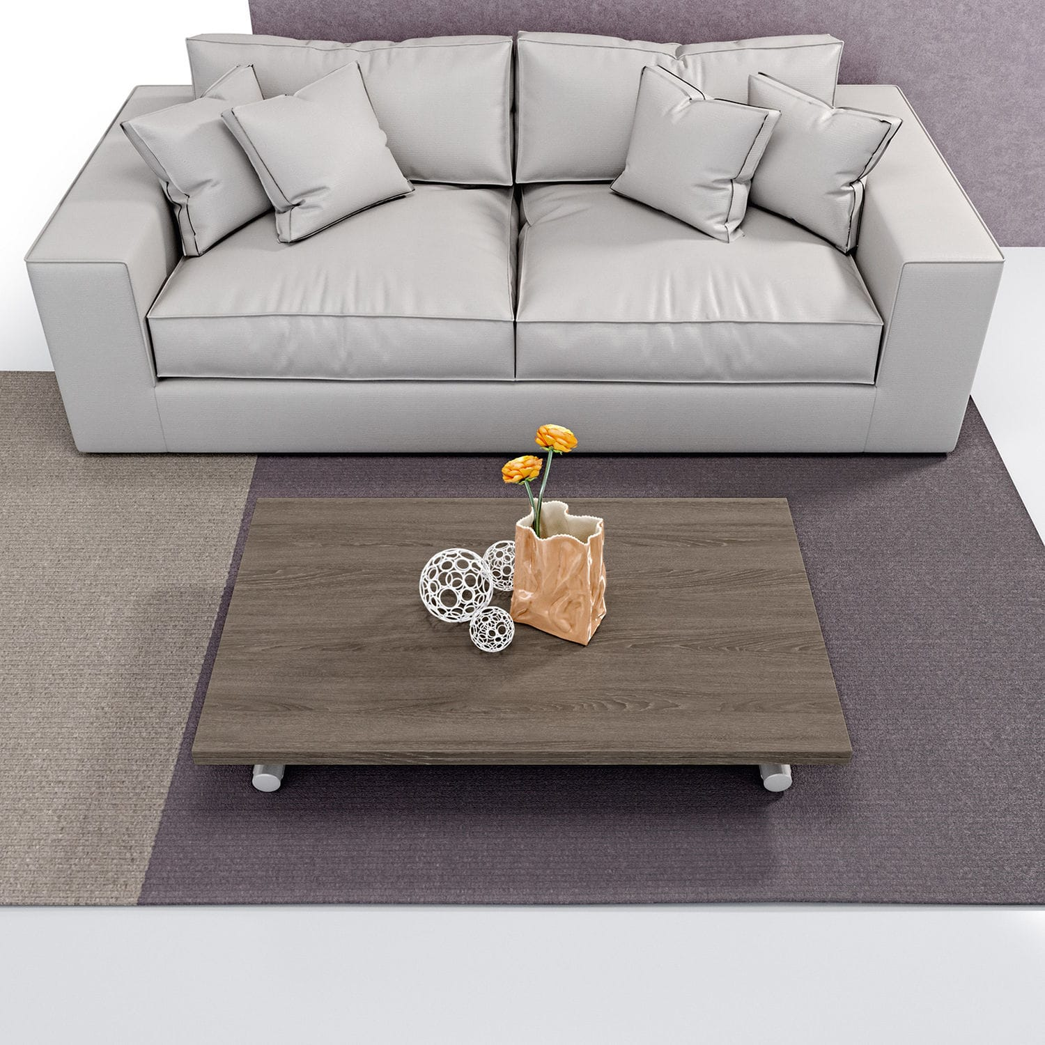 Contemporary coffee table metal stained wood melamine