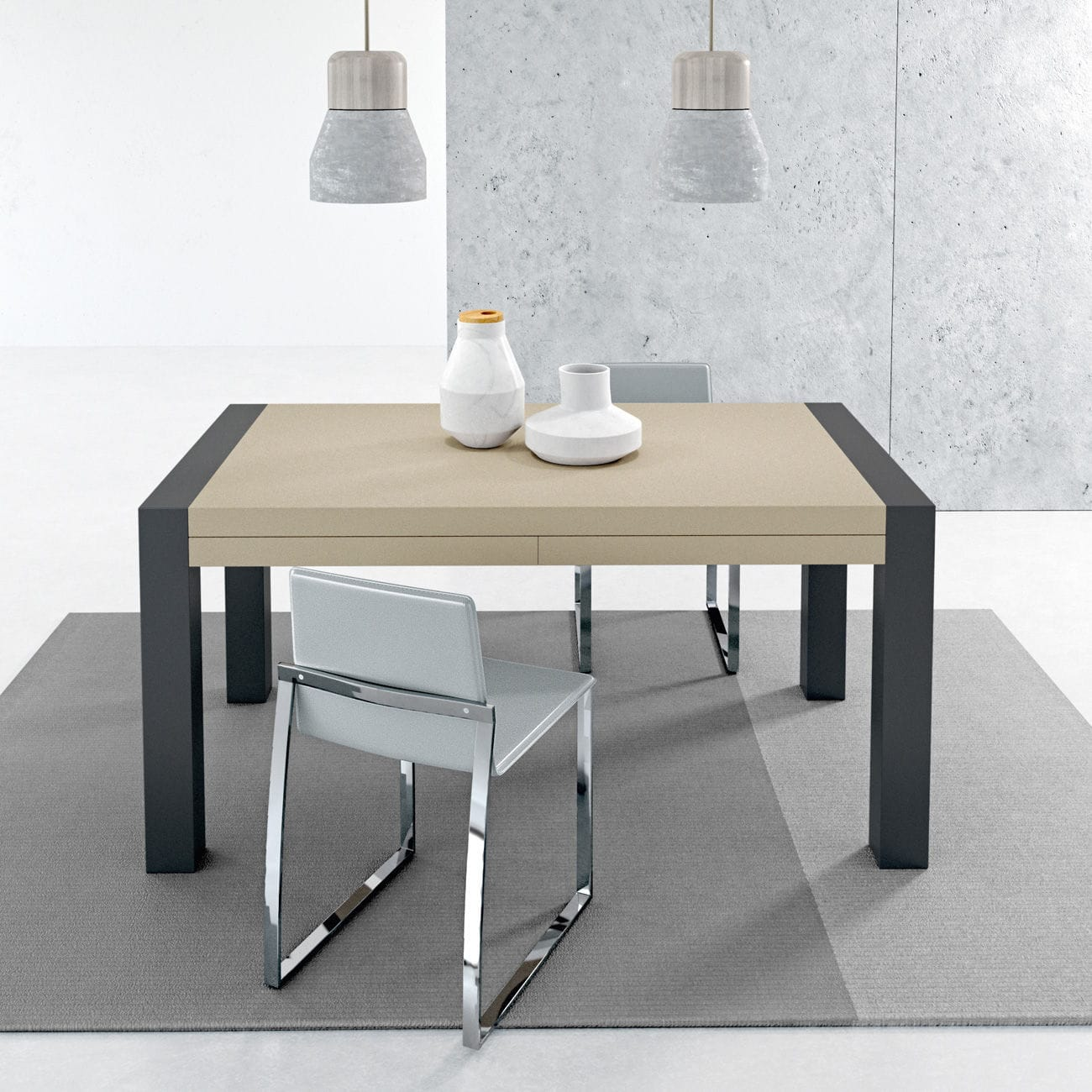 Contemporary Dining Table Metal Stained Wood Melamine Vuelta